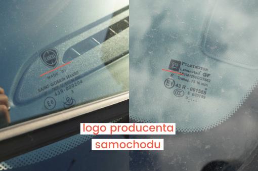 oznaczenia szyb samochodowych - logo producenta samochodu